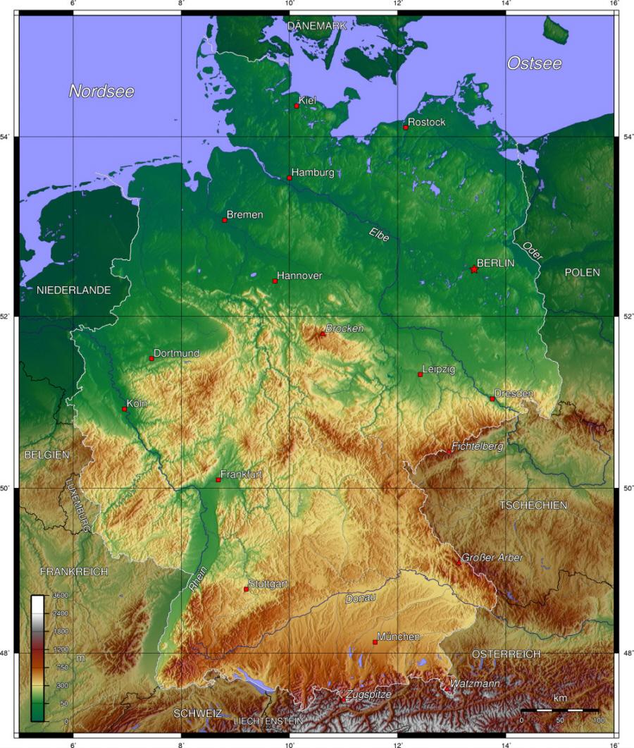 deutschlandkarte höhenmeter Deutschland   Topographische Karte   Medienwerkstatt Wissen © 2006