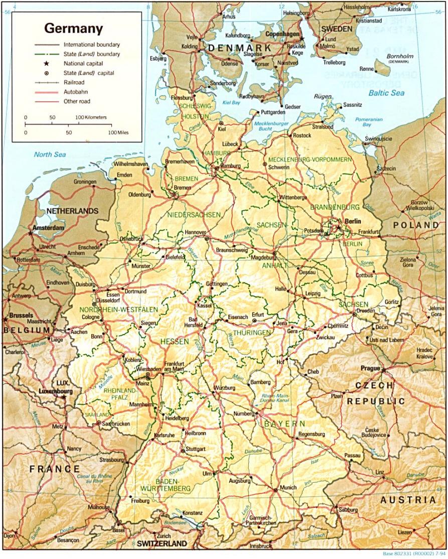 Deutschland Landkarte Landergrenzen Autobahnen