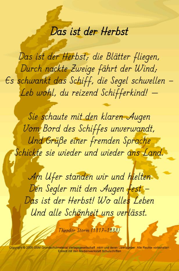 Über herbst gedicht Herbstgedichte und