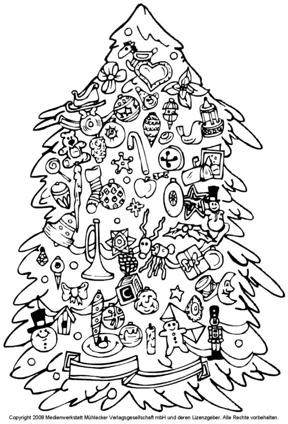 Zum Ausmalen: Weihnachtsbaum mit Spielzeugbehang - Medienwerkstatt ...