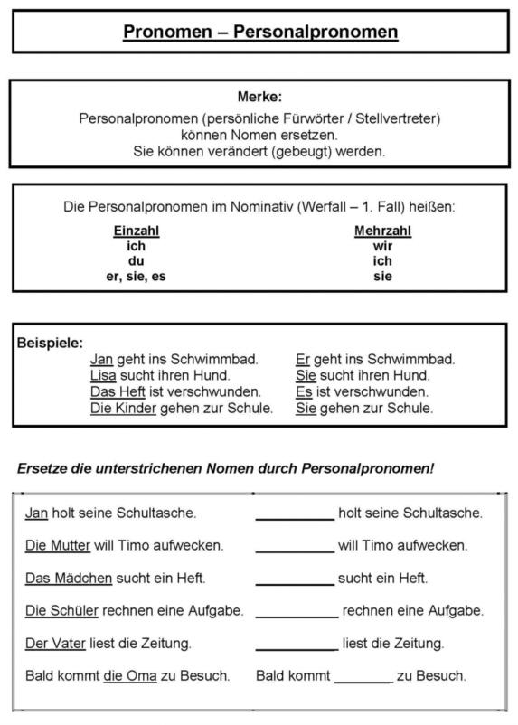 Großartig Pronomen Arbeitsblatt Fotos - Mathe Arbeitsblatt ...
