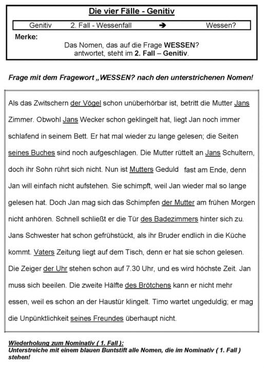 Vier Fälle - Genitiv - Arbeitsblatt - Medienwerkstatt-Wissen © 2006 ...