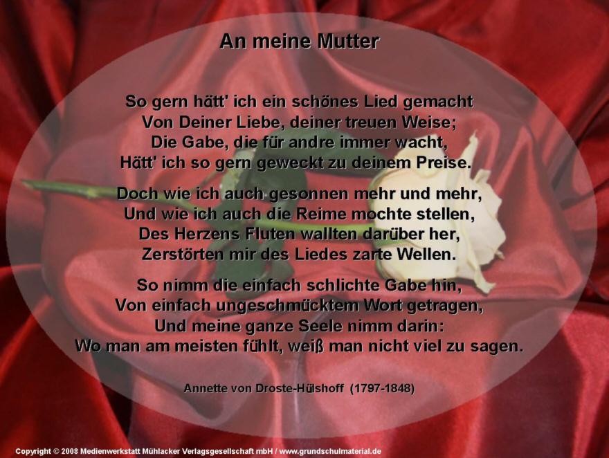 An Meine Mutter Annette Von Droste Hülshoff