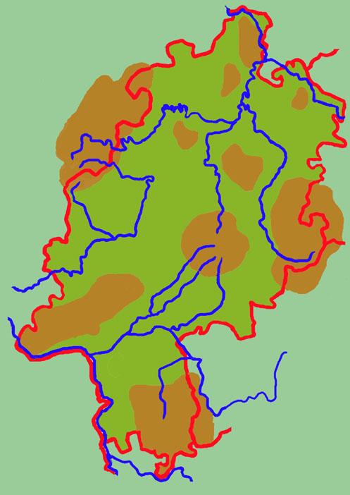 landkarte von hessen Hessen   unbeschriftete Landkarte   Medienwerkstatt Wissen © 2006  landkarte von hessen