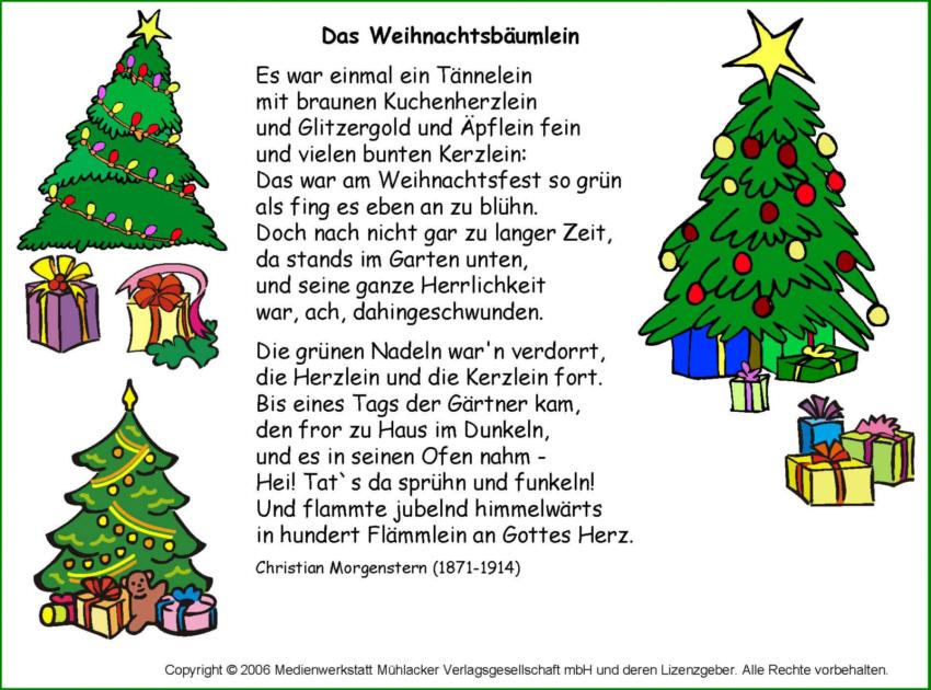 Weihnachtsgedichte Für Kinder Grundschule.Das Weihnachtsbäumelein Morgenstern Medienwerkstatt Wissen