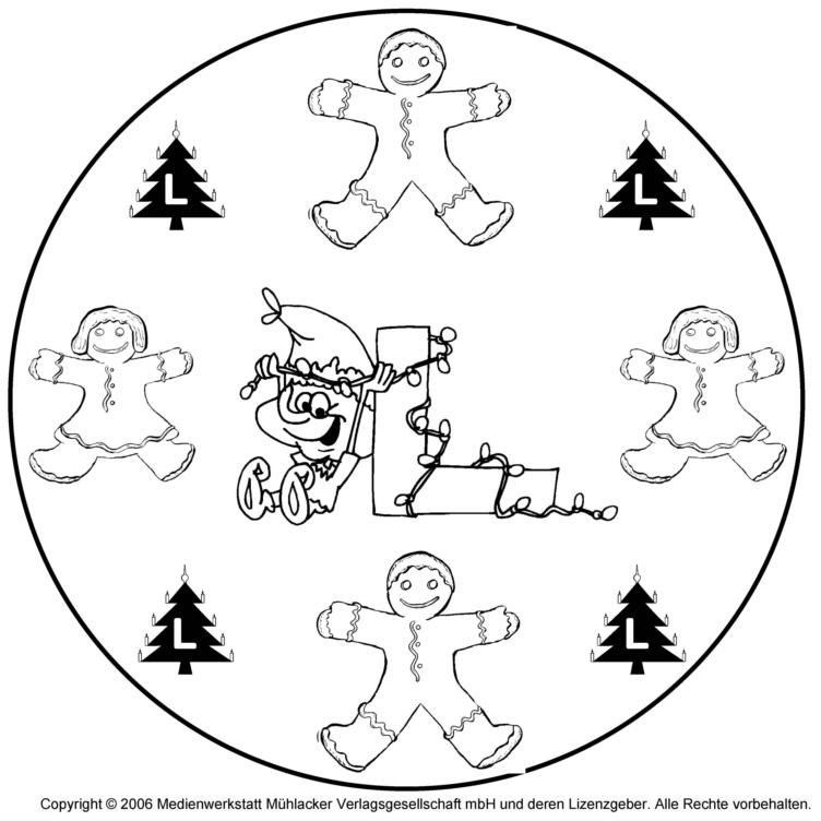 weihnachtswichtelbuchstabenmandala zum l